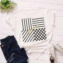 GUMPRUN Women Plus Size Fashion Graphic Tops T Shirts Summer Loose Short Sleeve Print Tshirt Streetwear Cotton Casual