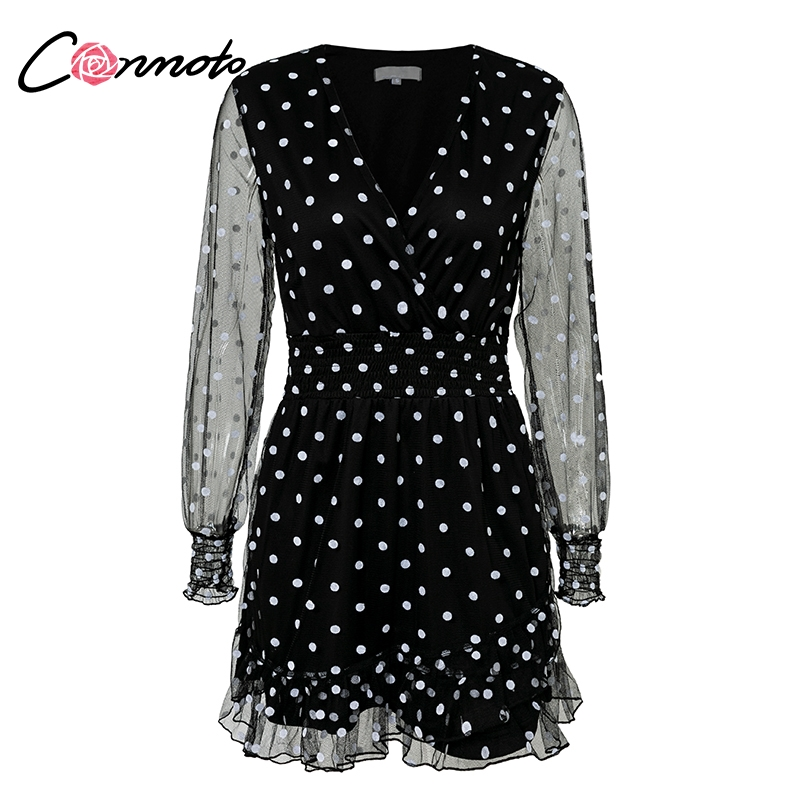 d9b8d3f30750b o] Conmoto Lace Mesh Long Sleeves Dress Black V Neck Polka Dot Dress ...