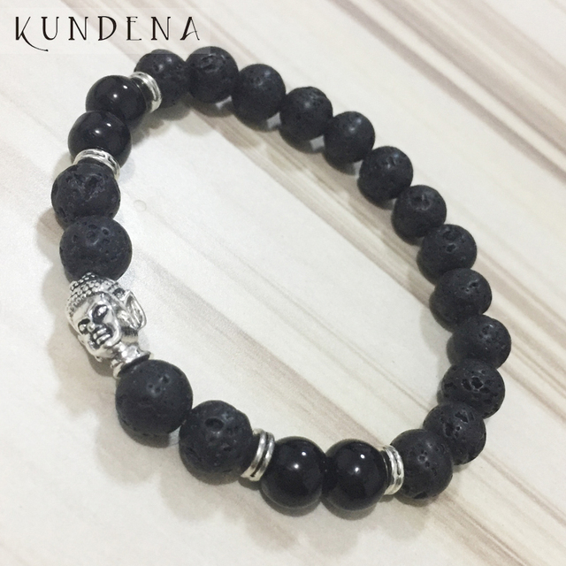 8mm Black Lava Onyx Buddha Bracelets Prayer Bead Wrist Mens Mala