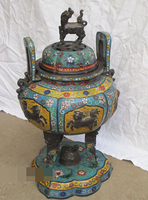 xd 003162 18Qianlong Regius Cloisonne bronze beautiful 7 Kylin 6 Lion 3 dragon censer