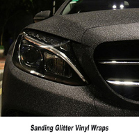 Black Glitter Diamond Car Wrap Film Decal Sanding Vinyl Truck Motorcycle Vehicle Body Sticker Wrapping Air Bubble Free 5ft X98fT