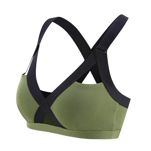dd25efe876 Oyoo V neck Sexy Army Green High Impact Sports Bra Wide Shoulder Straps  Pink Workout Yoga