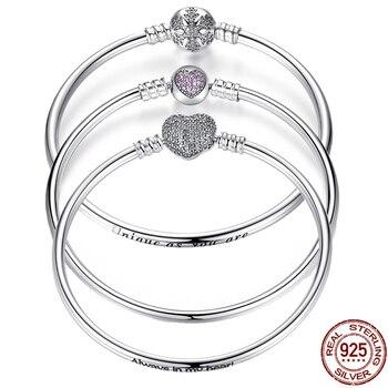 ee2f491018b1 Pulseira 925 pulsera de plata de ley Femme copo de nieve corazón Ojo Azul  mujer serpiente cadena pulseras y brazaletes joyería de mujer
