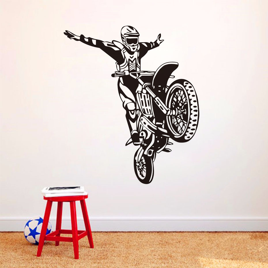 Motorbike Driver Wall Stickers For Kids Rooms Children Art Decals Home Decor Removable Waterproof Self Adhesive Wallpaper