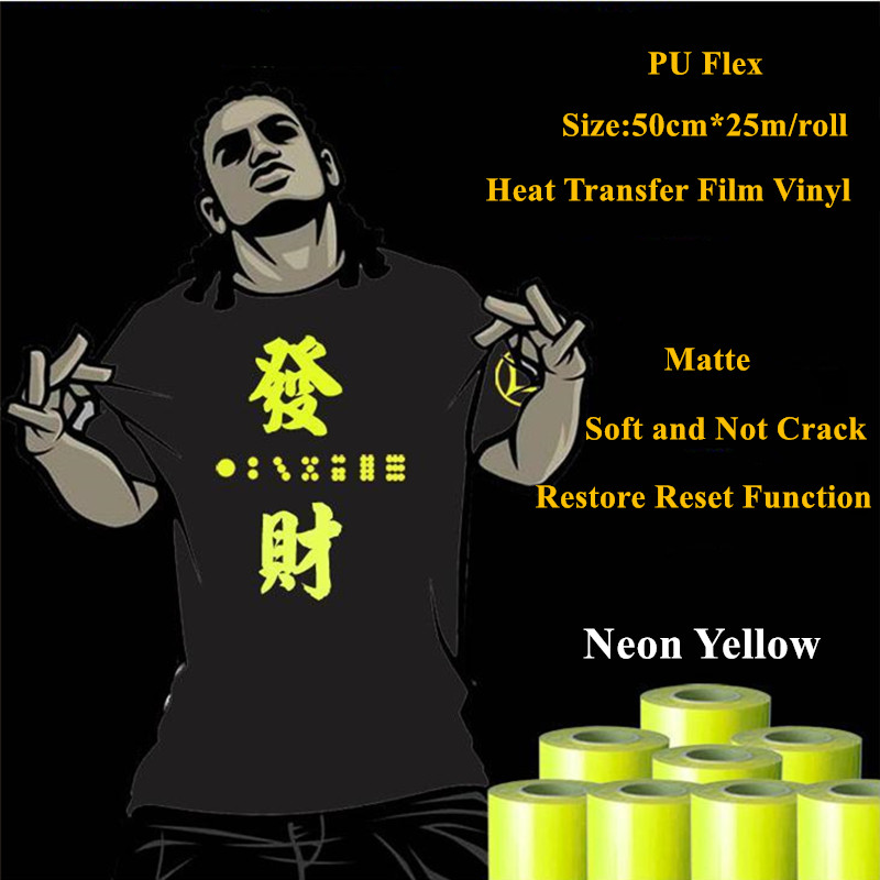 Heat Transfer Vinyl For Clothing Neon Yellow Heat Press Film for t shirt PU Heat Transfer Film Vinyl 50cm*25m/roll 20''*25yd free shipping 5rolls 50cmx100cm heat transfer vinyl film pet metal light mirror finish for textile print