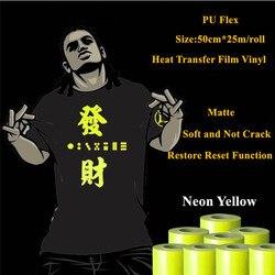 Wärme Transfer Vinyl Für Kleidung Neon Gelb Wärme Drücken Film für t shirt PU Heat Transfer Film Vinyl 50cm * 25m/roll 20 ''* 25yd
