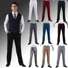 2016 формальные свадебное мужчины брюки мода уменьшают подходящие свободного покроя марка бизнес блейзер прямой платье брюки H0284(China (Mainland))