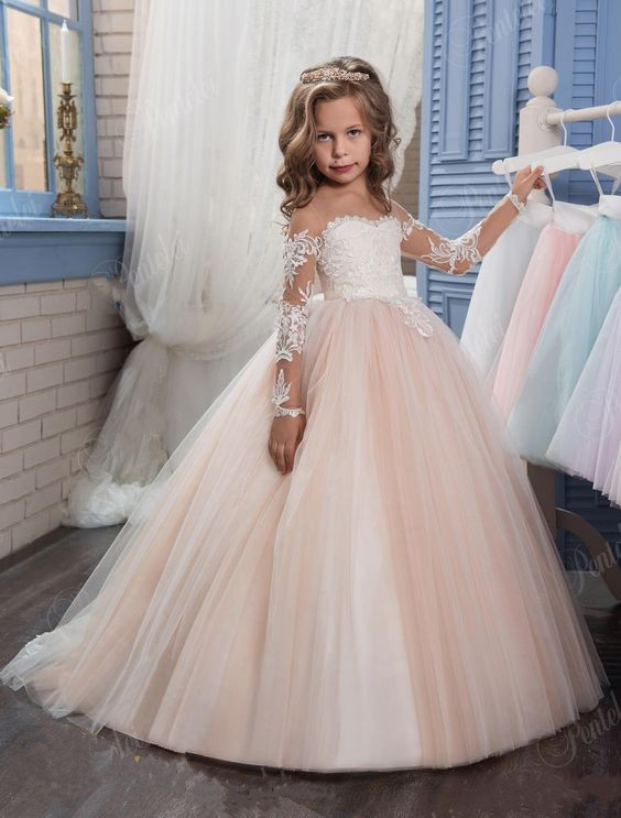 a699340e4215e Ball Gown Round Neck Light Champagne Tulle Flower Girl Dress with Appliques  Girls First Communion Dress Long Sleeves Custom Made - aliexpress.com -  imall. ...