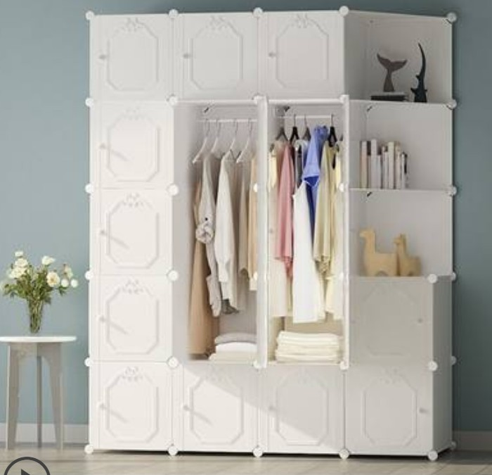 White Luxury PP plastic Resin Cloth Wardrobe Clothes Storage Cabinet Metal Frame Large Strong Coat Closet Bedroom Furniture B504