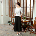 Vintage White Chinese Women's Cotton Linen Shirt Female Printed Flower Blouse Elegant Slim Clothing Size S M L XL XXL A0058