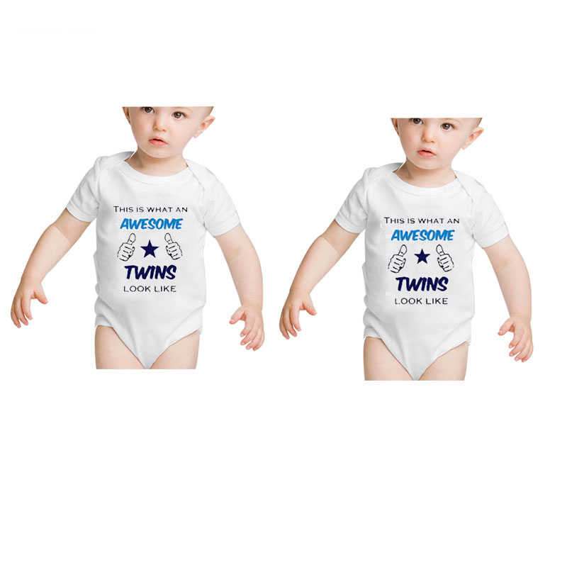 067d41a35a337 Culbutomind Newborn Twins Baby Bodysuits Short Sleeve Girl Boy Clothes Pure  Cotton Baby Boy Girl Costumes Twins Baby Clothes