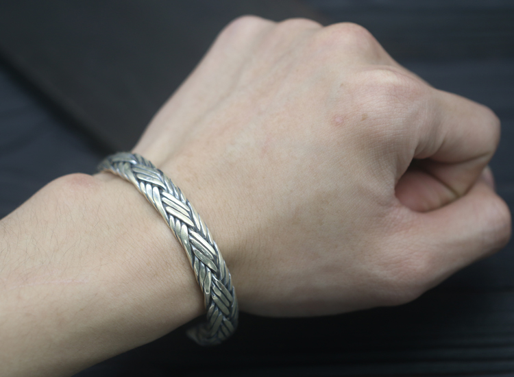 39g Pure Solid Sterling Silver 925 Braided Weave Cuff Bangle Bracelet Men Women Simple Brief Style Trendy Mens 925 Jewelry Gifts - 2