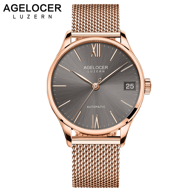 AGELOCER Luxury Brand Men 316L Stainless Steel Gold Watch Men's Automatic Mechanical Clock Man Waterproof Wrist Watches Mens tevise fashion mechanical watches stainless steel band wristwatches men luxury brand watch waterproof gold silver man clock gift
