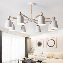 Trazos Nordic Chandelier vallkin ceiling Iron Lampshade Living Room Suspendsion hanging Light Fixtures Colgantes Wooden Lustre