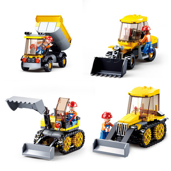 4Pcs/Lot SLUBAN Engineering vehicle Team Building Blocks Kit Bricks Classic City Construct Model Kids Toys Compatible Legoings 21035 lego
