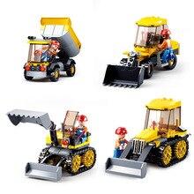 4 Pçs/lote SLUBAN Engenharia veículo Kit Team Building Blocks Bricks Modelo Clássico Da Cidade de Construção Crianças Dom Brinquedos Compatível Legoe
