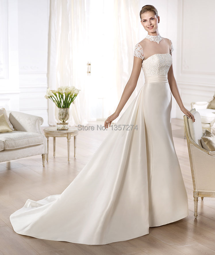 Turtleneck Wedding Dress: Illusion Corset Bride Gowns Turtleneck Lace Wedding
