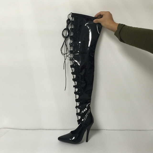 dd2a50e4821 Sexy Black Shiny Tigh High Boots Women Lace-Up Front Pointed Toe Extra High  Heels Botas Mujer For Girls Women Work Boots