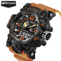 SANDA Brand Waterproof Fashion Watch Men Quartz Analog Dual Display WristWatch Digital LED Clock Military Watch