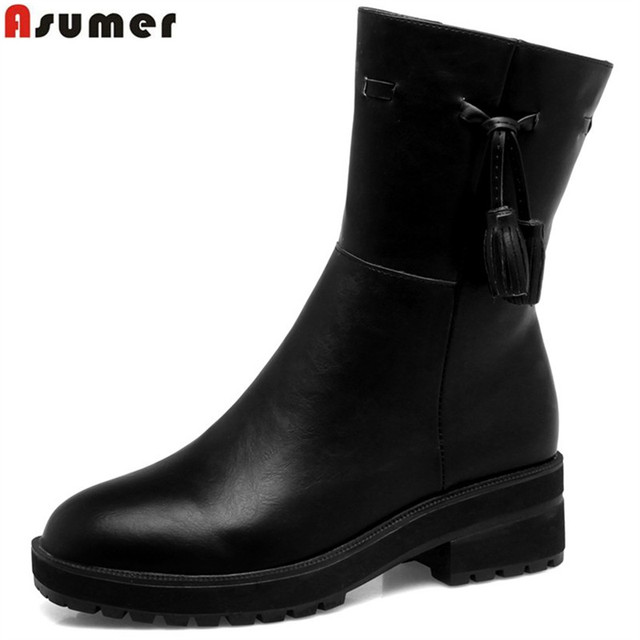 ASUMER black brown yellow women boots round toe zipper ladies autumn winter boots square heel ankle boots big size 33-40