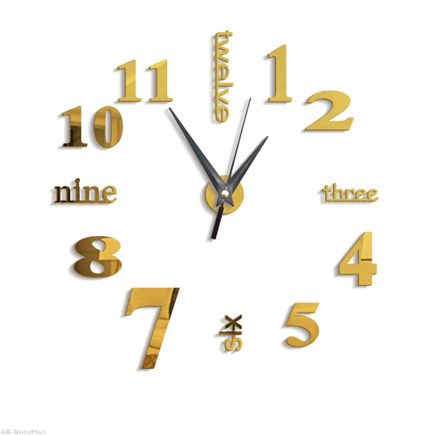2019 New High Quality 3D Wall Stickers Creative Fashion Living Room Clocks Large Wall Clock DIY Home Decoration Acrylic Gold