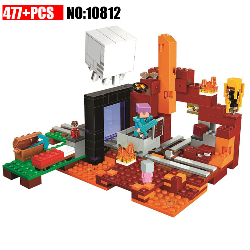 NEW 477pcs 10812 Bricks My worlds the Nether Portal Building Blocks kit Educational Toys Boy Gift for Children Compatible 21143 dhl lepin 18032 2932 pcs the mountain cave my worlds model building kit blocks bricks children toys clone21137 in stock