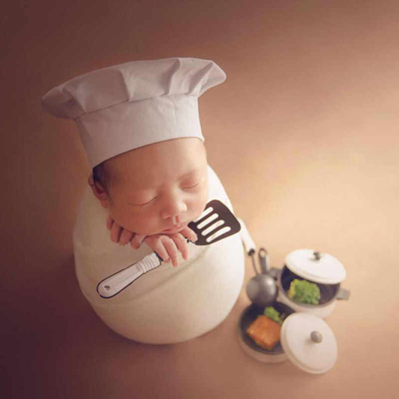 5a42935ed70 ... Baby Photography Props Little Chef Hat White Stretch Wrap Little Cook  Hats Novelty Newborn Photography Accessories ...