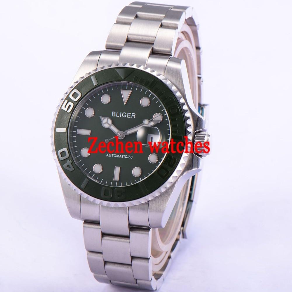 Bliger 43mm Luminous hand Sapphire glass green Automatic Date Day Mens Watch Wristwatch цена и фото