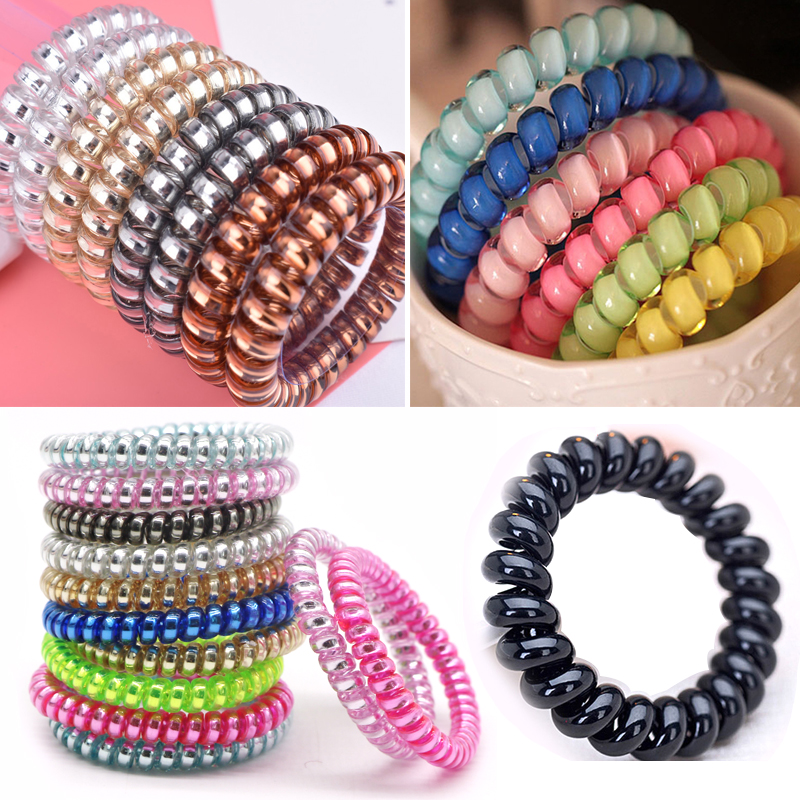 5pcs Telephone Wire Elastic Hair Bands Hair Accessories for Women Girl Rubber Band   Headwear   Hair Rope Spiral Shape Hair Ties Gum