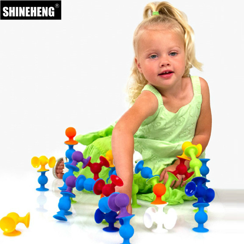 Pop Suckers Funny Silicone Block Soft Building Blocks Kids DIY Model Construction Toy For Children Boys Girls Christmas Gift