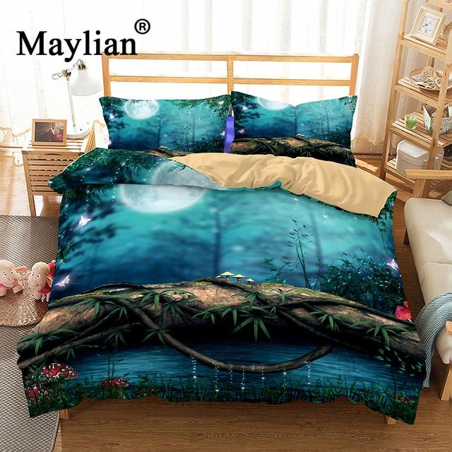 3d красивый лесной постельные принадлежности набор Мандала пододеяльник мир дизайнерская кровать набор богемский a Mini Van постельное белье 2-3 шт. BE1120