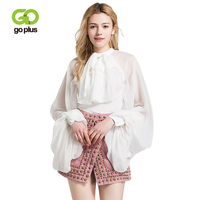 GOPLUS 2019 Spring Thin Chiffon Ruffles Blouses Women Elegant Bow neck Puff Sleeve Shirts Ladies Party loose Blusas Female Top