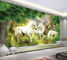 [Self-Adhesive] 3D Unicorn Forest 025 Wall Paper mural Print Decal Murals