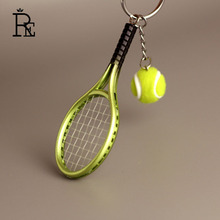 RE 100pcs/lot wholesale promotion tennis racket key chain sports keychain ring holder