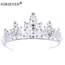 Vintage Baroque Silver Alloy Crysta Rhinestones Bride Crown tiara For Wedding Hair Jewelry Handmade Bride Hair Accessories HG037
