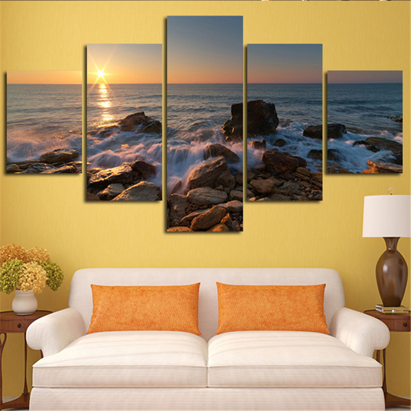 2016 Wall Painting Sunrise Stone Is Land With River Home Decorative For Living Room Mode ...
