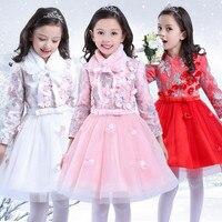 الشتاء طويلة الأكمام فتاة مطوي زهرة ثوب جديد سنوات الدافئ زائد سميكة طبقة الأميرة طرف ثوب فتاة توتو اللباس 8 سنوات
