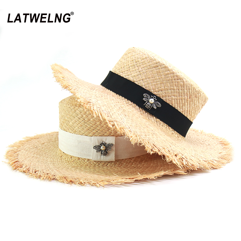 New Fashion Bee Decoration Straw Hats For Women Soft Raffia Beach Hat Ladies Summer Sun Visor Hats Dropshipping Wholesale