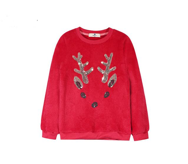 New Autumn Cartoon Deer Sequined Embroidery Pullover Girls Sweatshirt Long Sleeve Children Animal sweatshirt