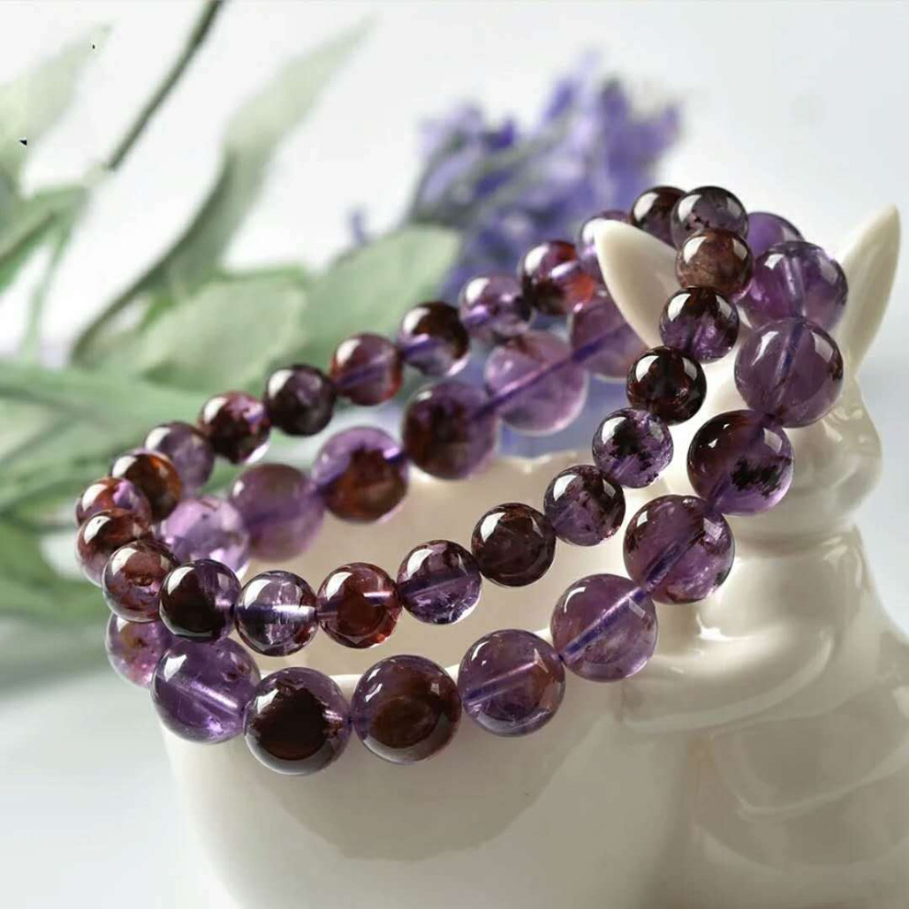 Natural Purple Phantom Quartz Cacoxenite 10mm Crystal Gemstone Round Bead Stretch Woman Bracelet AAAAA (3)