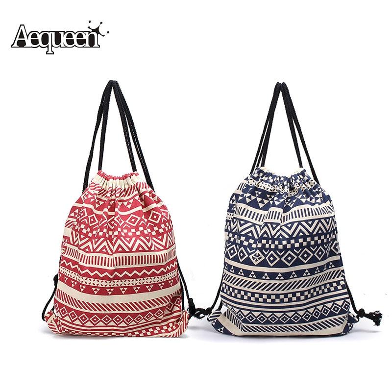 Online Shop National Women Drawstring Shoulder Bags Canvas Sack ...