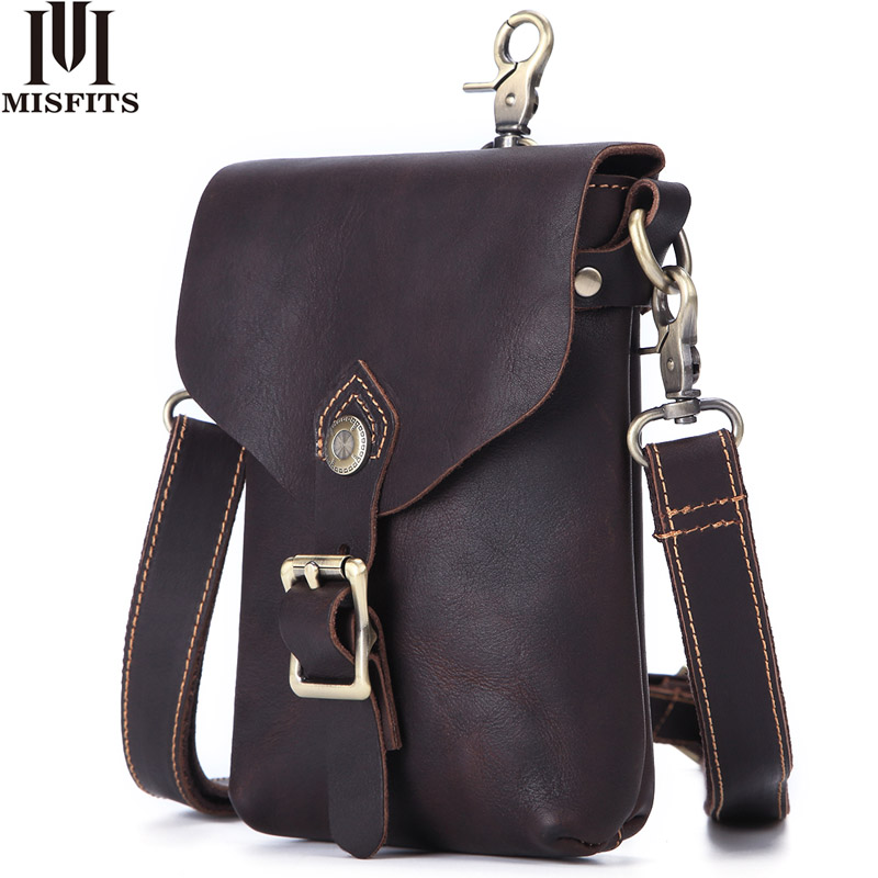 MISFITS crazy horse genuine leather men messenger bag vintage travel cell phone waist pack shoulder bag male small crossbody bagMISFITS crazy horse genuine leather men messenger bag vintage travel cell phone waist pack shoulder bag male small crossbody bag