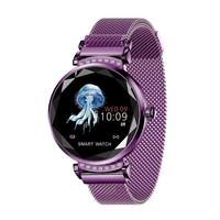 Lady H2 Smart Watch 3D Rhinestone Glass Heart Rate Blood Pressure Sleep Monito Purple