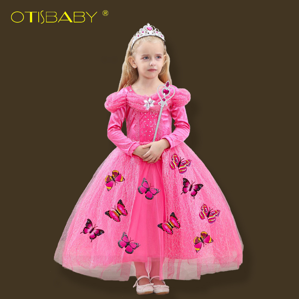 New Winter Sleeping Beauty Princess Aurora Dresses for Girls Kids Christmas Long Sleeve Tutu Dress for Wedding Children Clothing