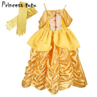 PRINCESS TUTU Yellow Belle Dress For Kids Girls Clothes Cosplay Party Beauty Belle Costume Cartoon Fancy