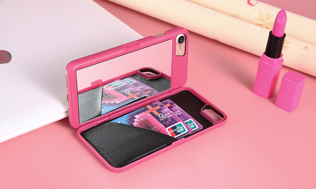 Leather Wallet Phone case with Mirror