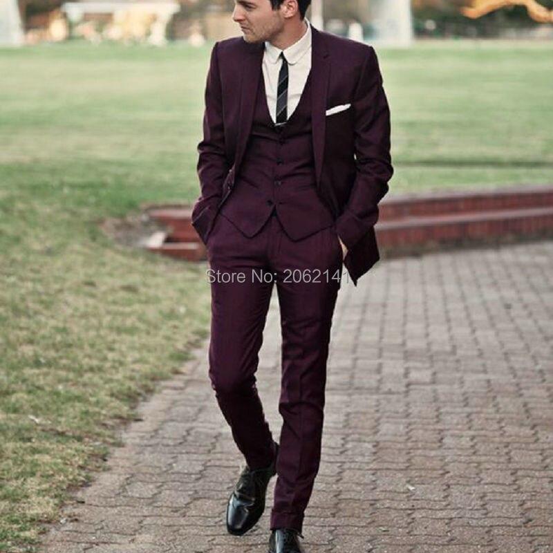 2016HOT SALE MenSuits Burgundy Wedding Suit for men 3pieces jacket ...
