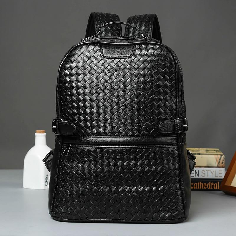 ФОТО Cool ! Black Leather Backpack Schoolbag Fashion Solid Weave Leather Backpacks men Large capacity Travel Laptop Backpack mochila