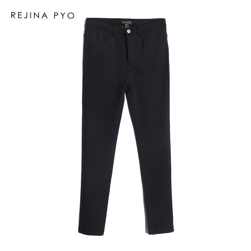 REJINAPYO Women Black Korean Style Velvet Liner Ankle Length Pant Womens Casual Warm Thick High Waist Pants All match Trousers