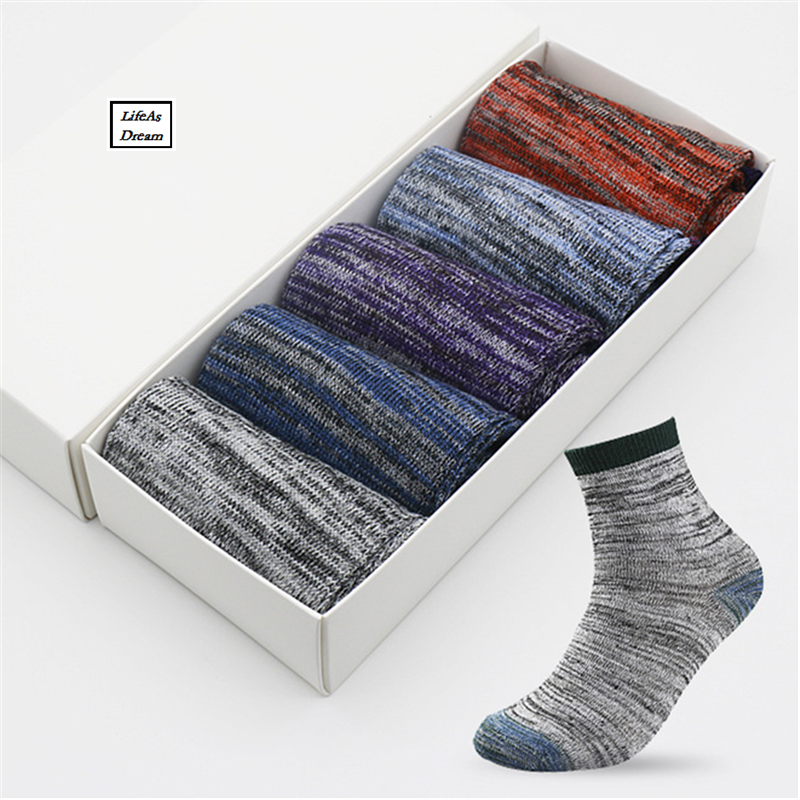 2017 Casual Mens Socks Chromatic Stripe Five Pairs Of Socks Man With The Final Design Clothing Fashion Designer Style Cotton